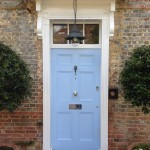 Hardwood Front Door Painted Blue window