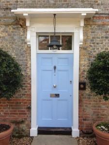 Hardwood Front Door Painted Blue window