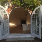 Round Top Arched White French Door