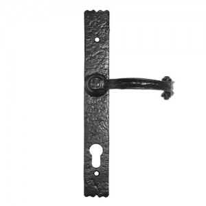 Antique scroll end multi-point door handle black