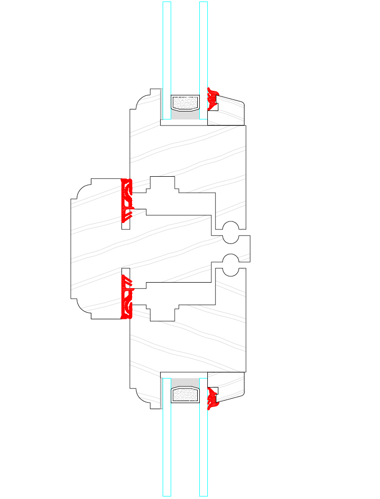 Flush casement section drawing