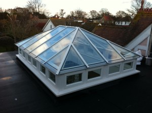 Hardwood Roof Lantern sidelights painted white accoya