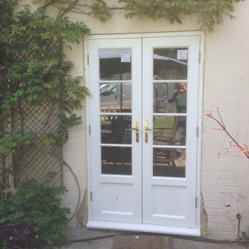 Hardwood French Doors painted white