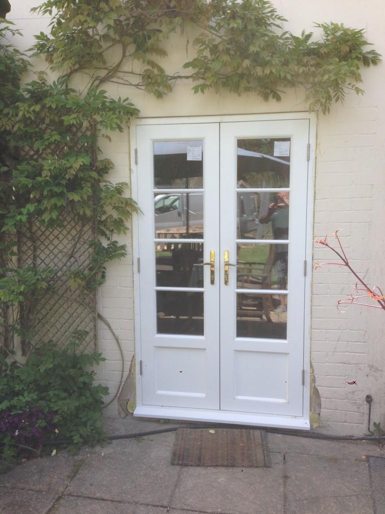 Hardwood French Doors painted white