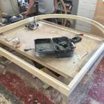 Arched timber door frame workshop accoya