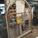 Arched timber door accoya frame workshop wooden