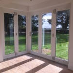 Folding wooden bifold doors french painted