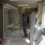 Painting timber windows workshop manfacture