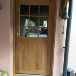 Solid Oak door half glazed applied bars