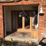 Installation painted hardwood double glazed front door
