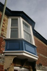 Painted hardwood bay sliding sash window Hampshire