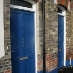 Painted blue wooden Door