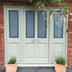Timber Front Door with sidelight windows