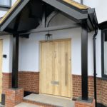 Accoya Front door wooden timber entrance besides