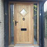 Oak Front Door leaded sidelights timber leaded