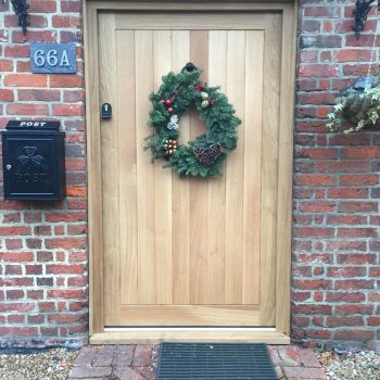 Oak Front door at Xmas