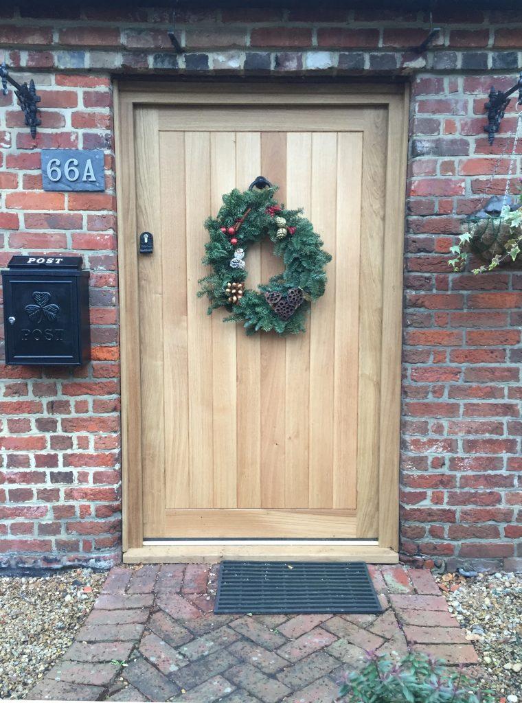 Oak Front door at Xmas