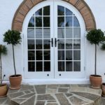 Round top Accoya french doors arch timber