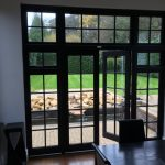 Timber wooden French doors patio black Esher