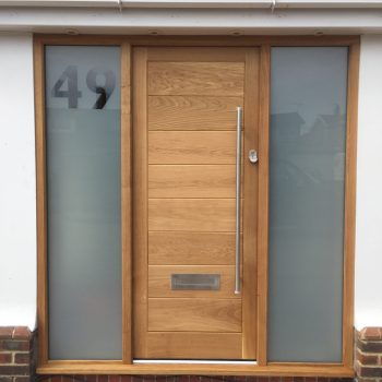 Oak door with glazed sidelights